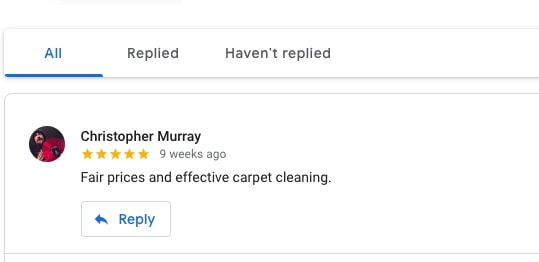 Click Reply To Reply to Google Review