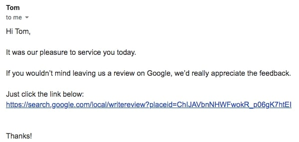send Google Review Link by Email
