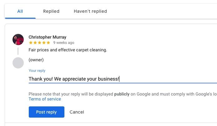 Responding to a review via Google My Business