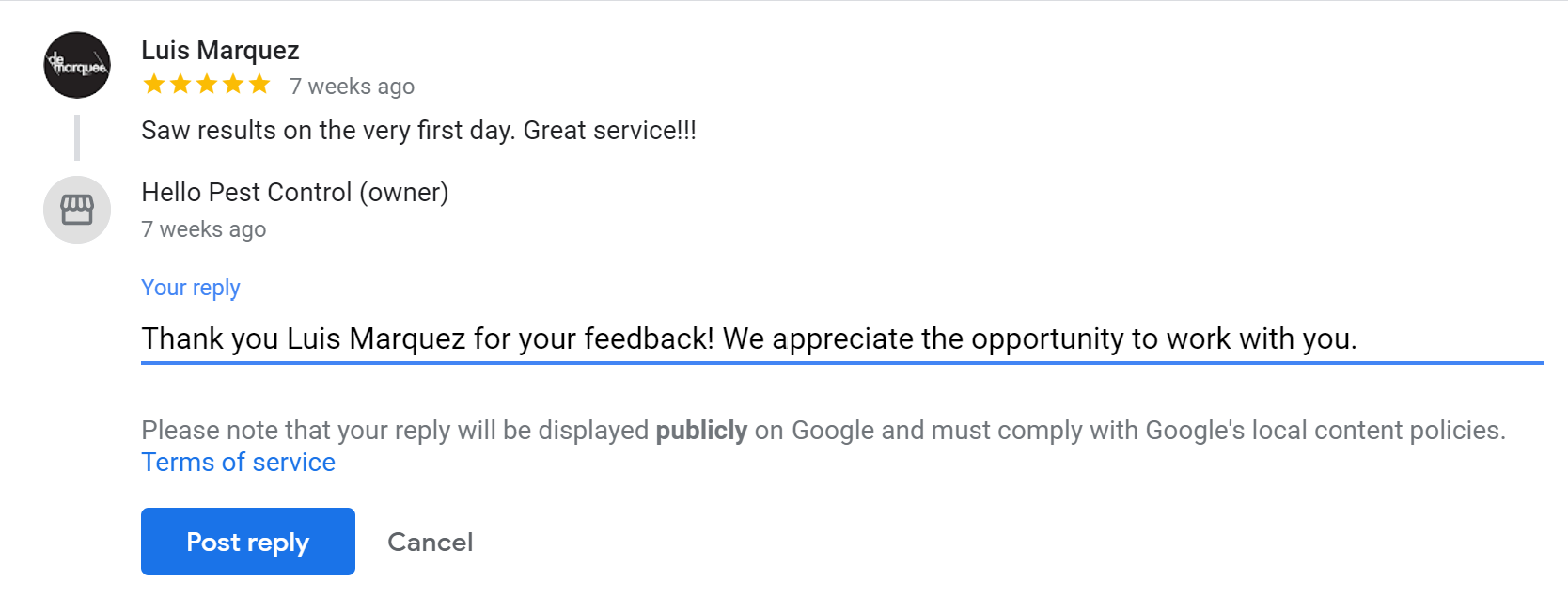responding to a google review
