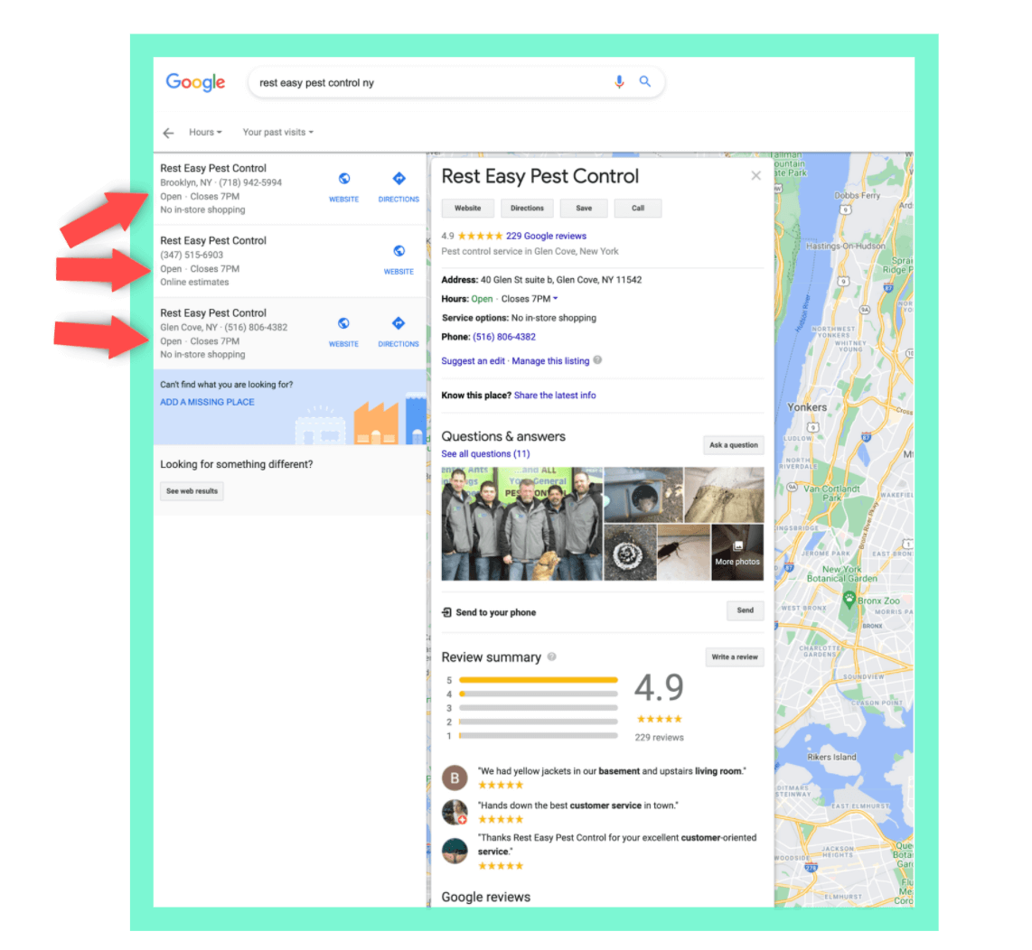 A Business with multiple locations on Google Maps