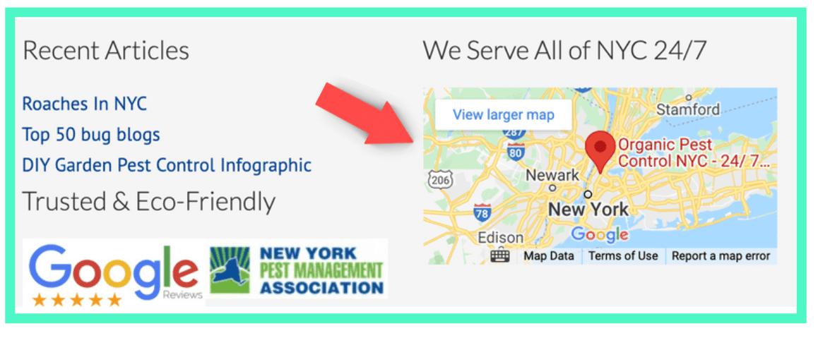 A Google map on a website