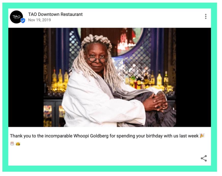 Whoopi Goldberg on google my business post