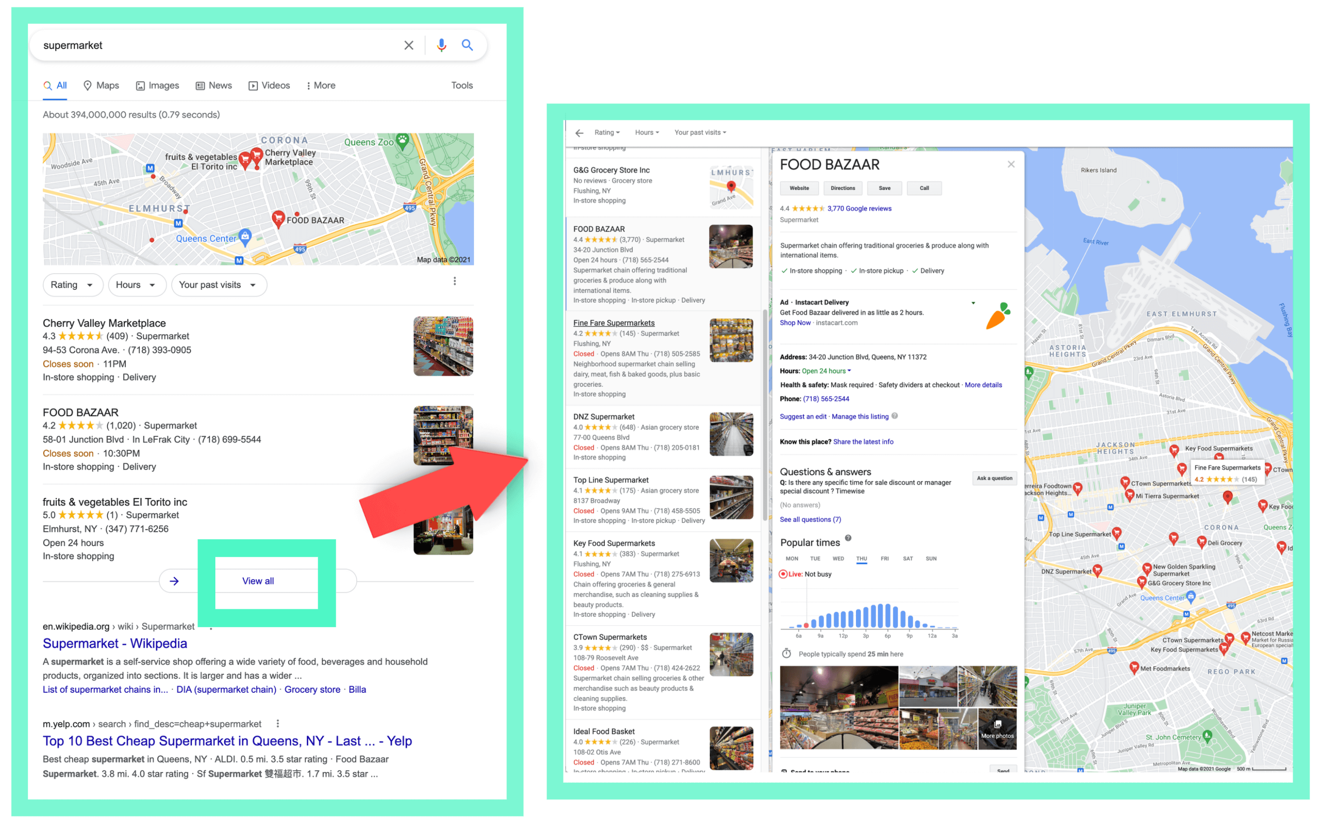 Google search result and maps