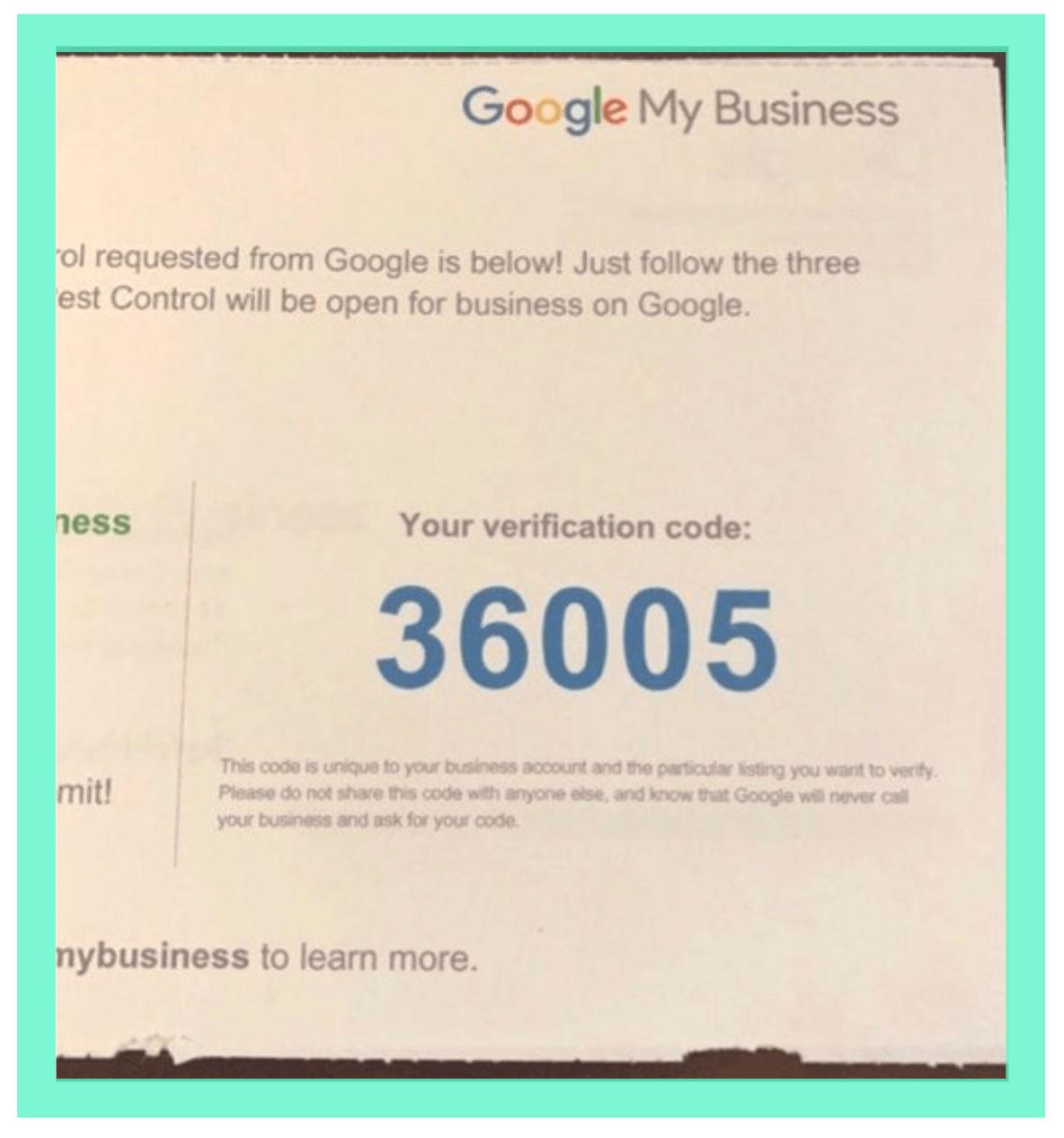 Google's verification code postcard