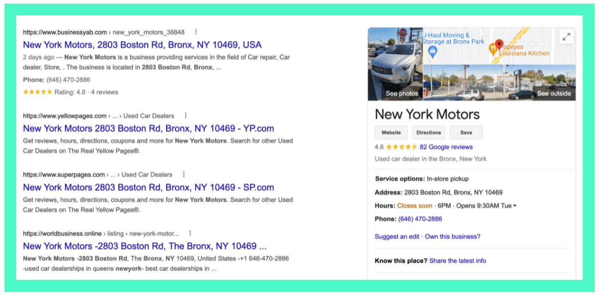 example of a business' NAP consistency on Google search result