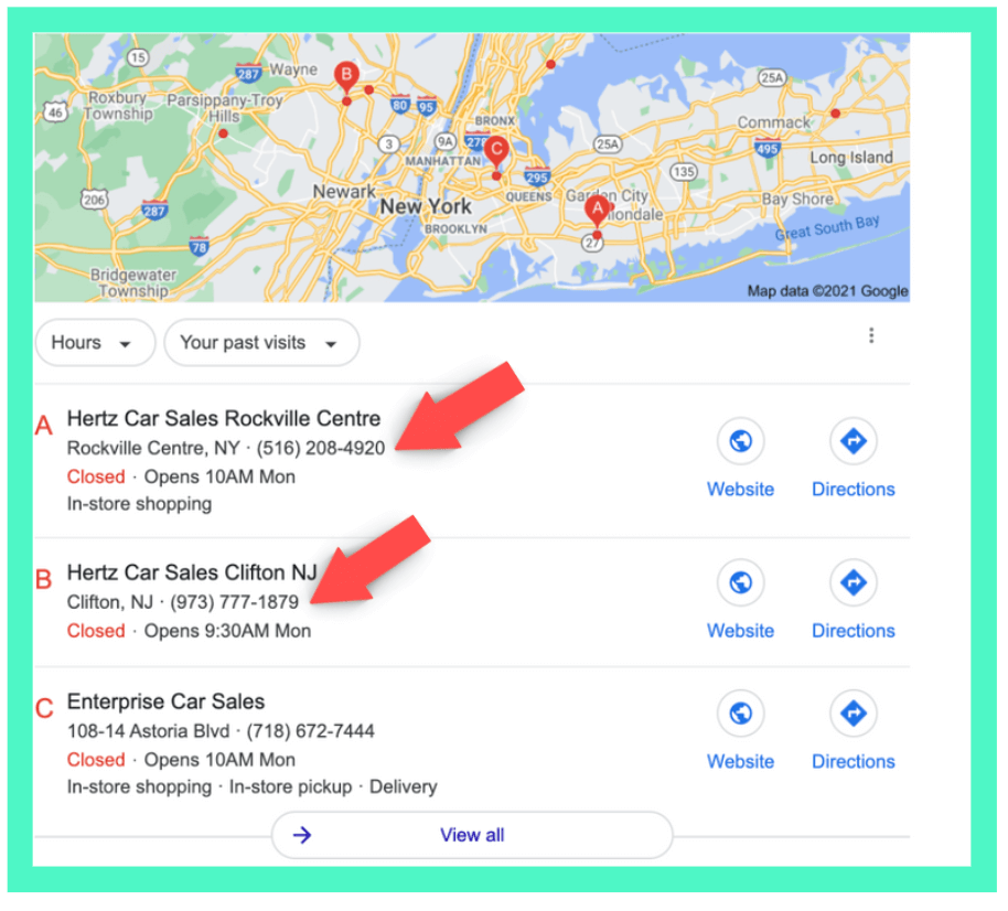 example of phone numbers on multiple locations on Google search result