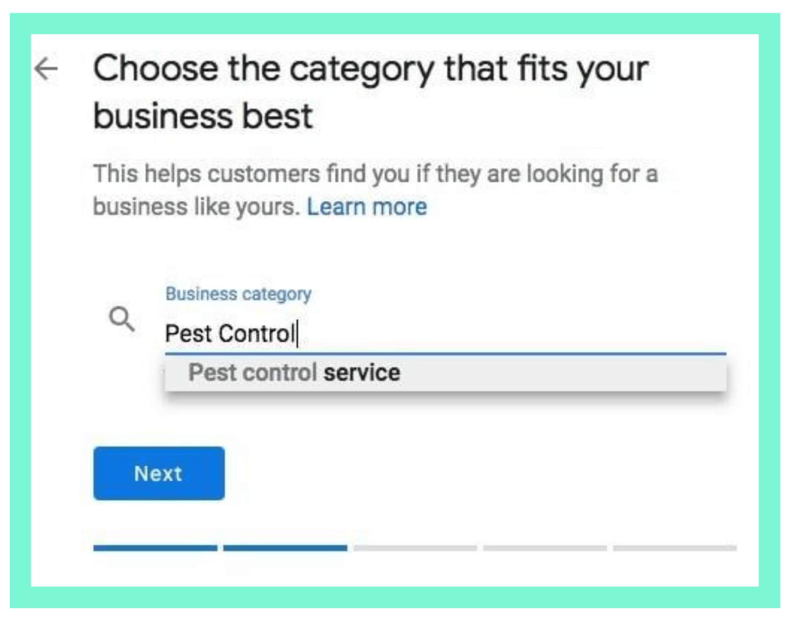 fill in category of business on GMB page