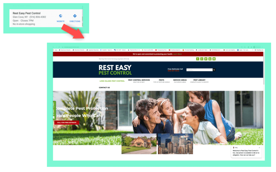 location specific page linked to a business' homepage