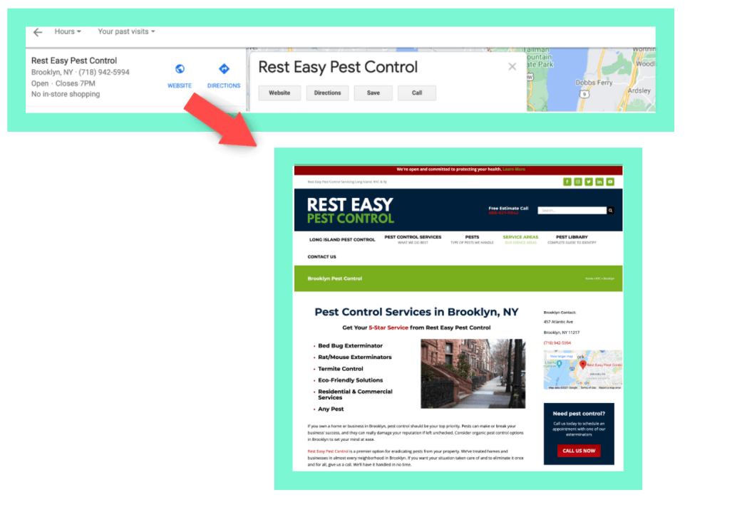 example of a location specific page on a business website