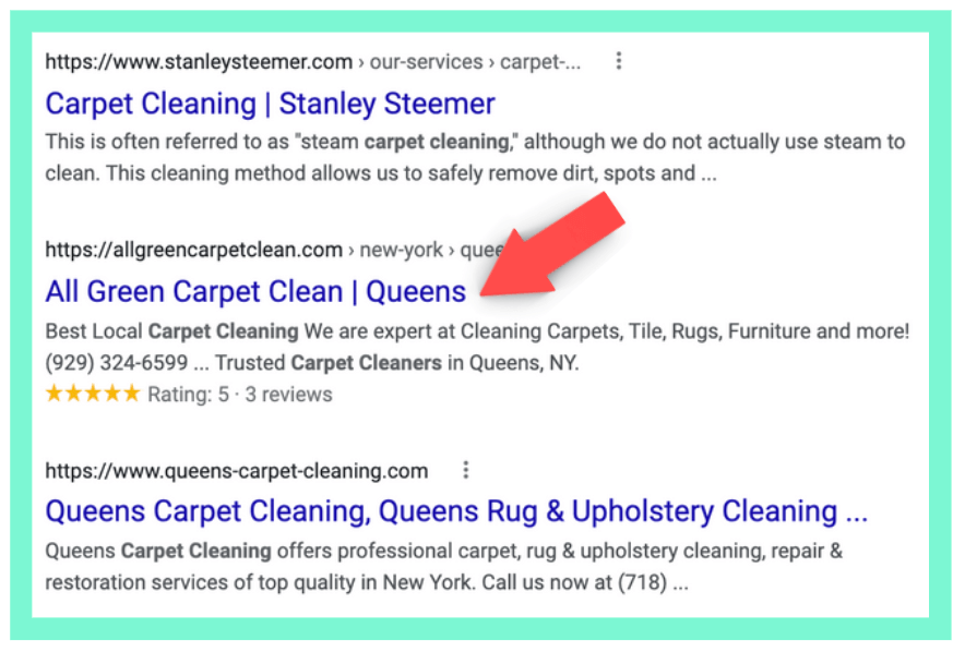 example of a business' schema markup on Google search result