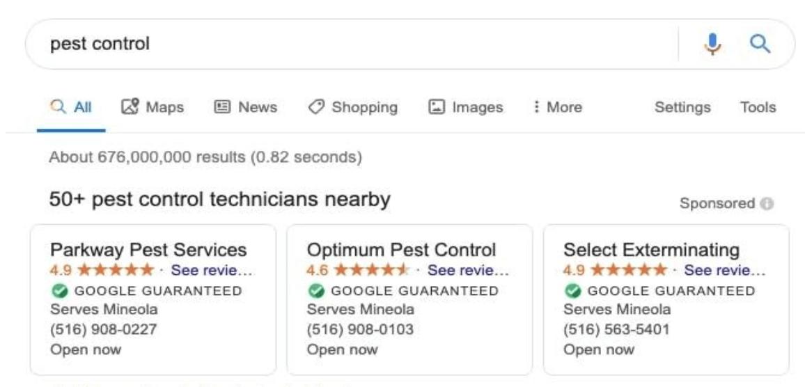 example of google guaranteed listing