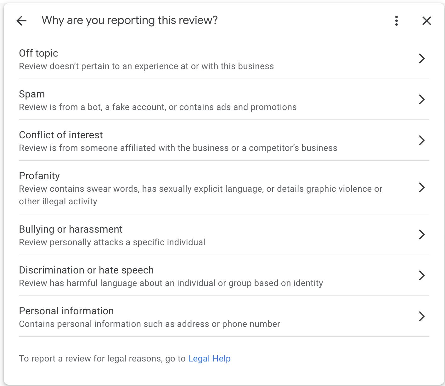 delete a google review categories