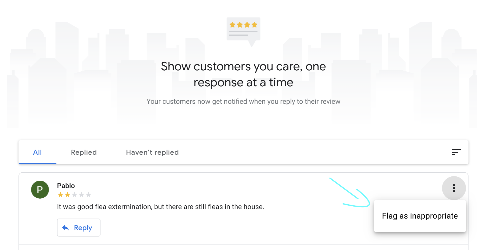 flagging as inappropriate a review on Google my business